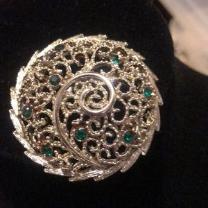 Jewelry - Silver and emerald brooch